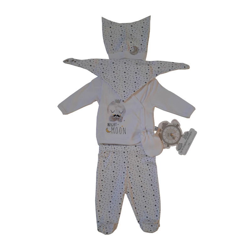 İmaj Little Moon Yenidoğan Erkek Bebek 5' Li Set - Beyaz